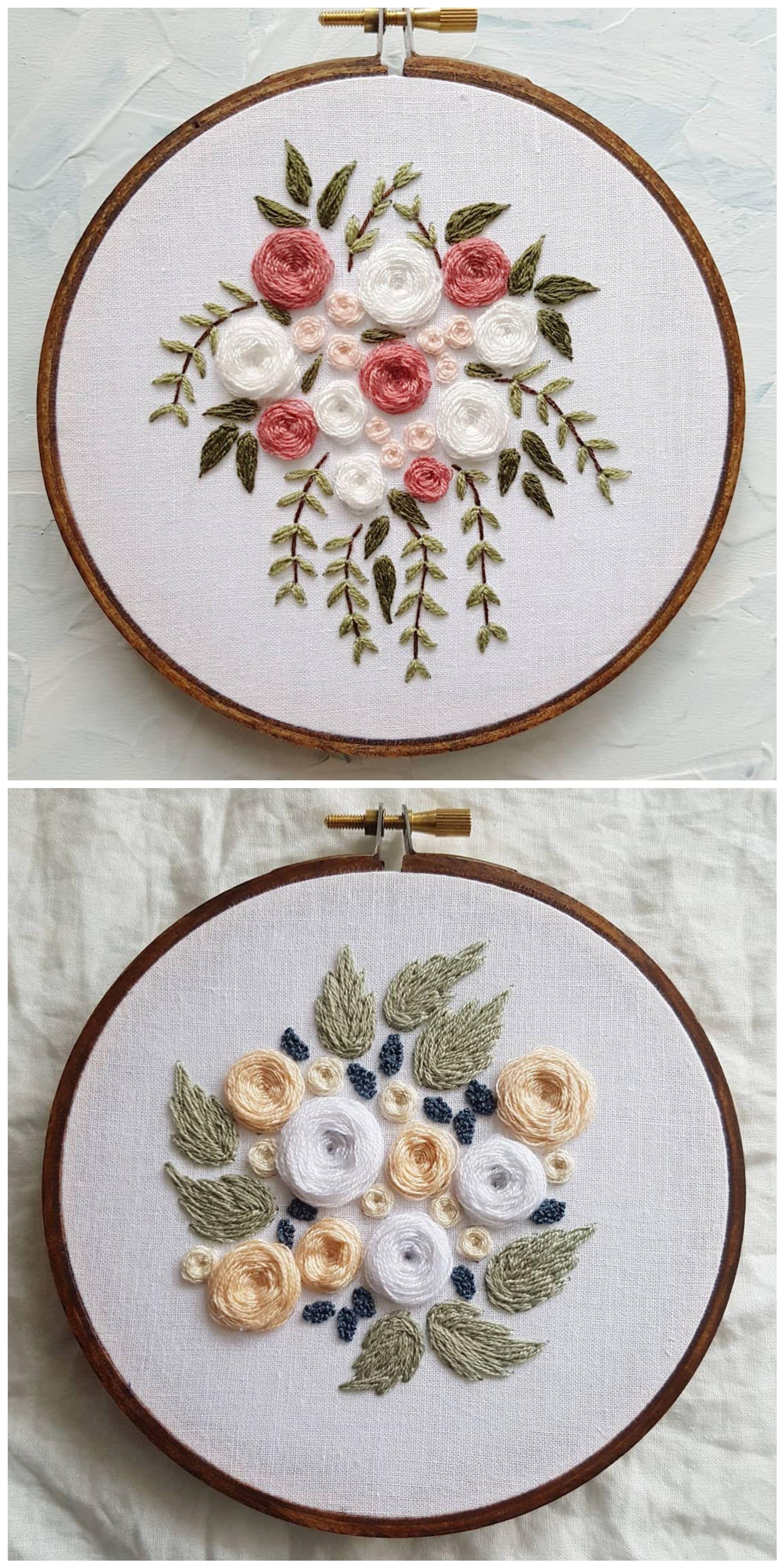 Embroidered flowers wedding bouquet custom peachnavy pinterest