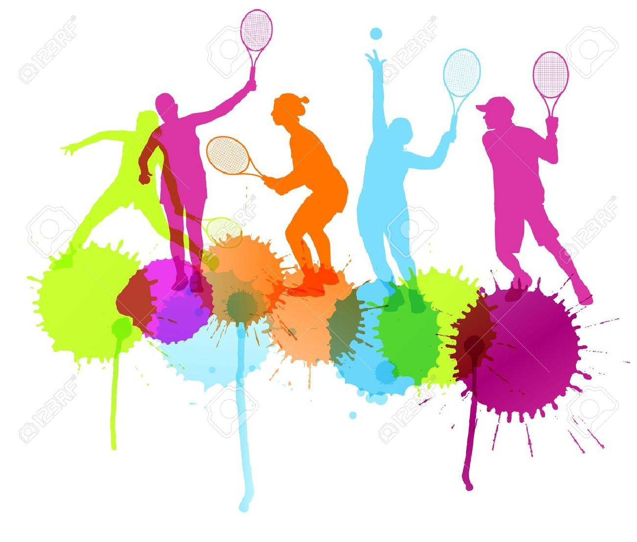 Tennis Players Silhouettes Vector Background Concept With Ink Volleyball Silhouette Volleyball Free Design