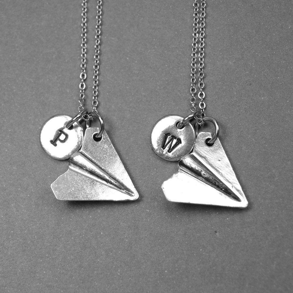 Best friend necklace paper plane necklace travel gift