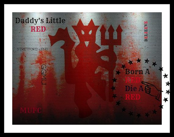 Manchester United Wall Art Print Man United Gift Red