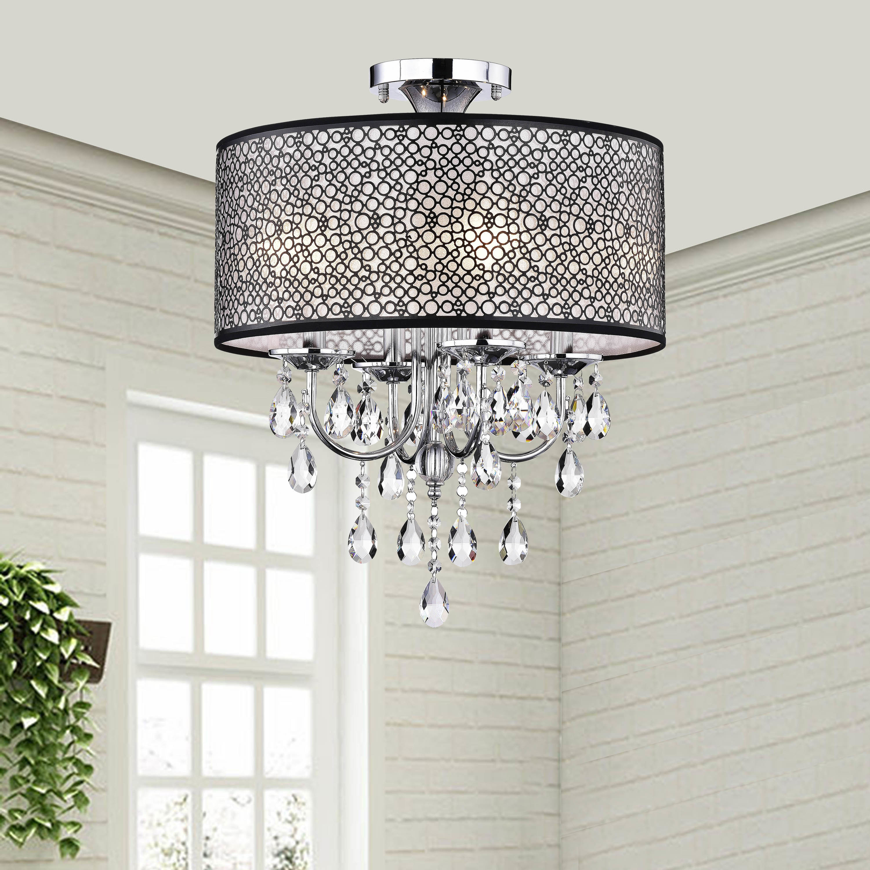 Silver Orchid Taylor Bubble Shade Crystal And Chrome Flushmount Chandelier Bronze Finish