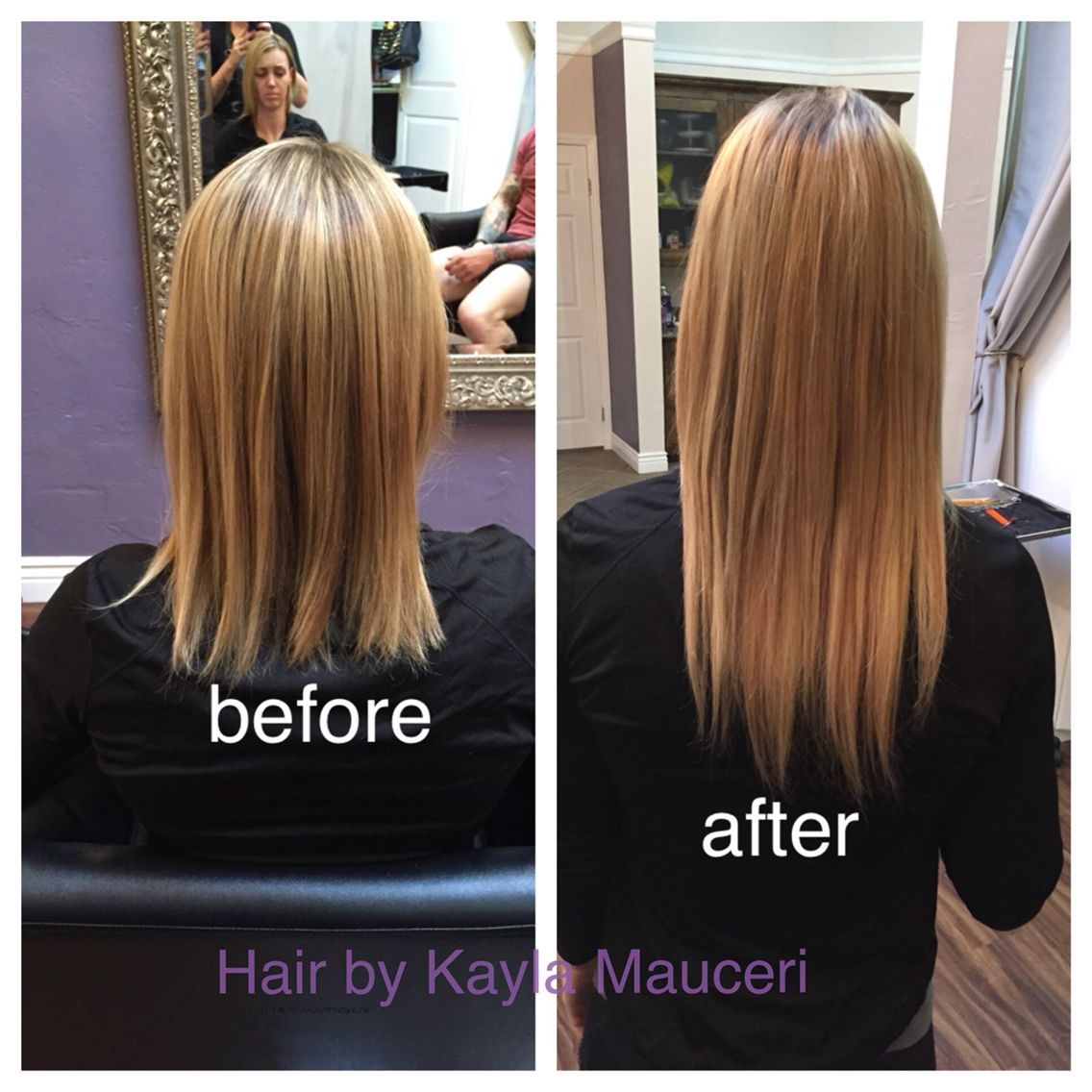 Before And After 14inch Babe Tape In Hair Extensions Hair By Kayla