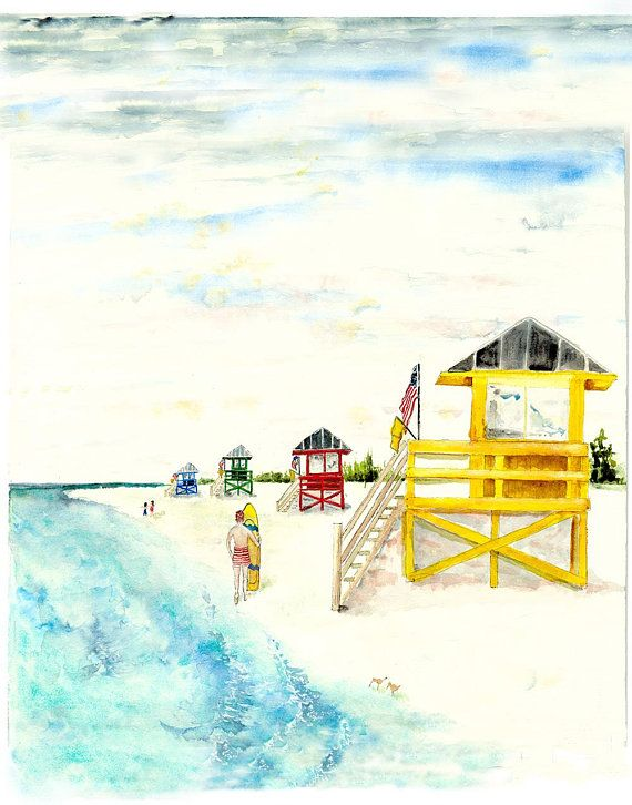 Siesta Key Beach Florida Watercolor Painting Beach Print