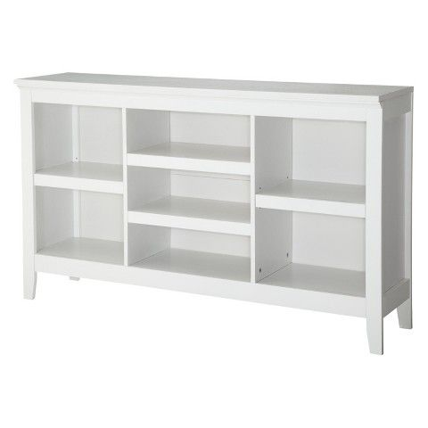 32 Carson Horizontal Bookcase With Adjustable Shelves White Threshold Horizontal Bookcase Home Office Furniture White Bookcase