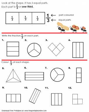 One Third Equal Parts Worksheet | Free Printable Worksheets ...