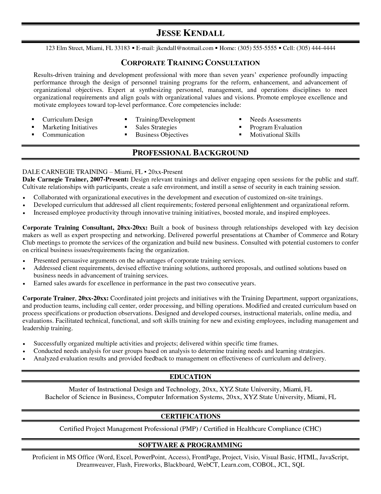 sample resume corporate training manager