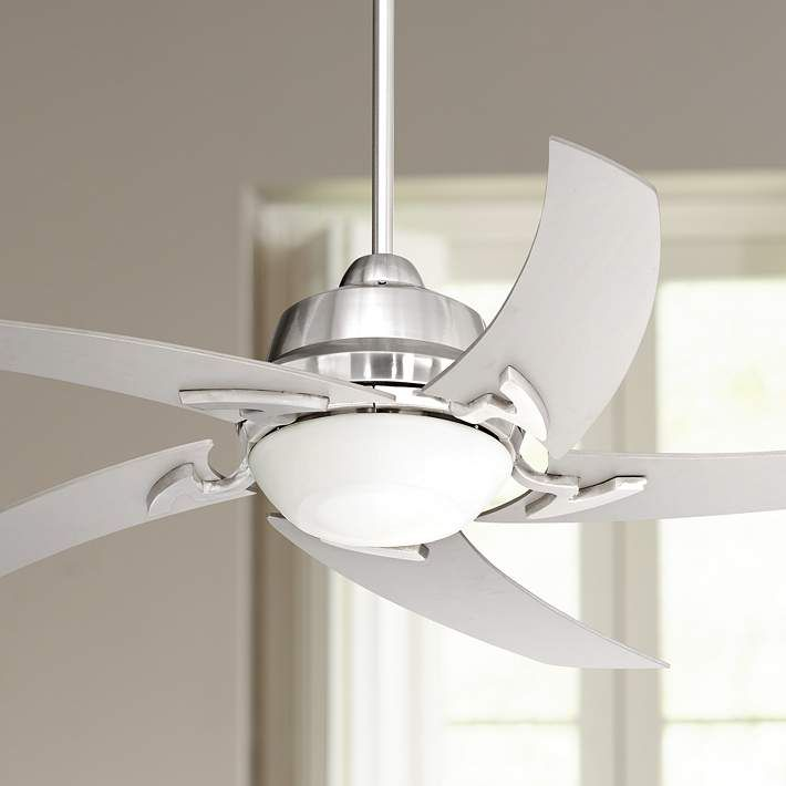52 Quot Casa Vieja Capri Brushed Nickel Ceiling Fan With Light