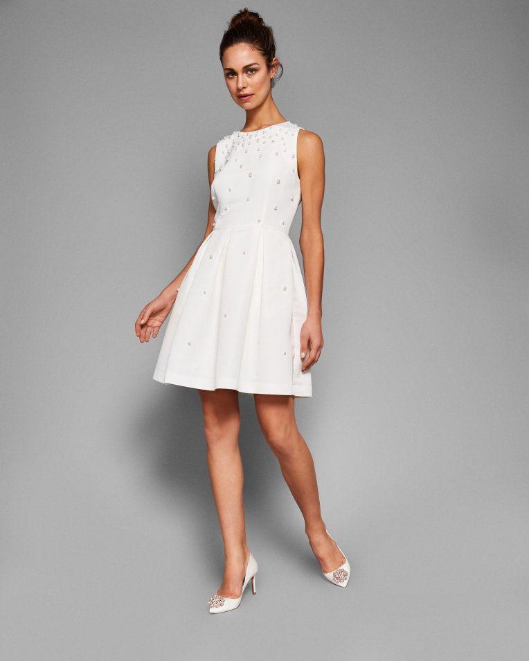 9b3c256bfbf5 Pearl embellished skater dress - Natural