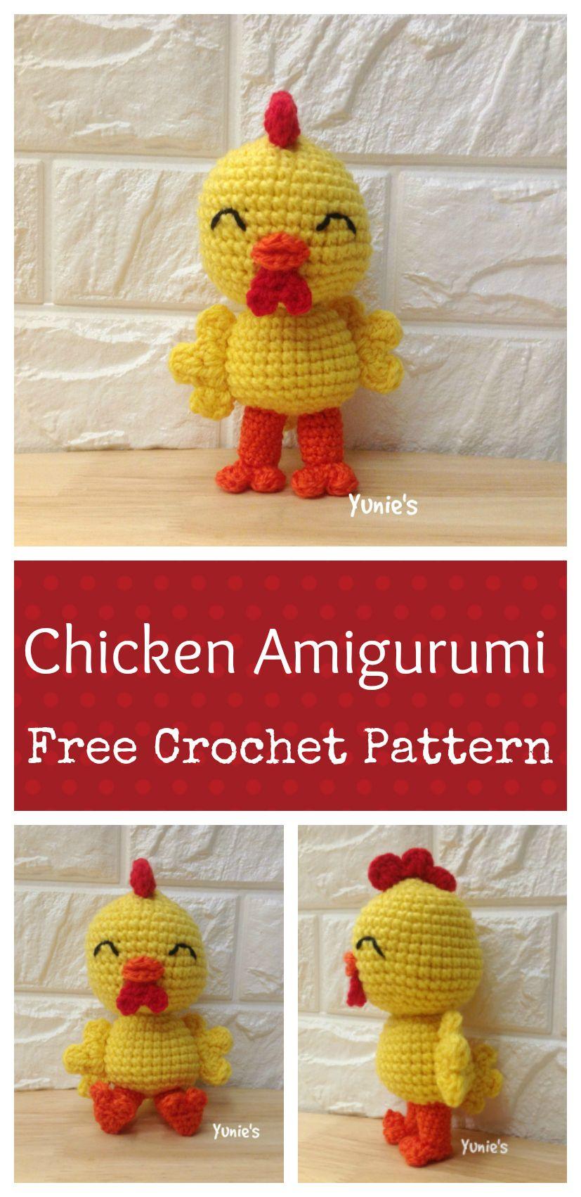 Free crochet pattern : Chicken Amigurumi   crochet   Pinterest ...