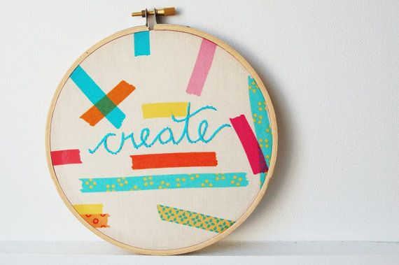 Embroidered Text Hoop Create Colorful Wall by merriweathercouncil, $30.00