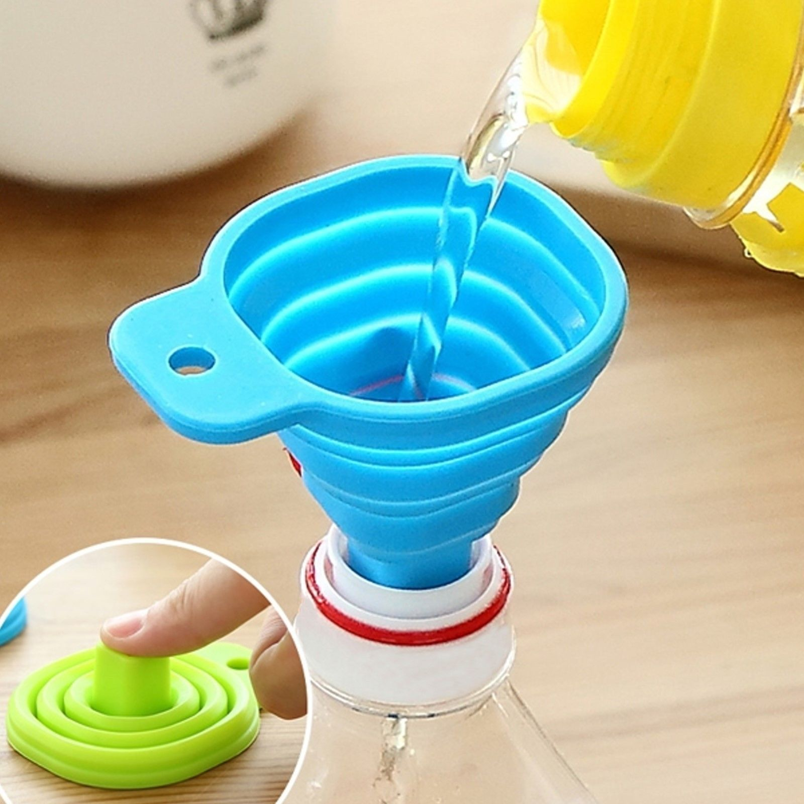 Space Saving Collapsible Mini Silicone Filling Funnel Kitchen Tools ...