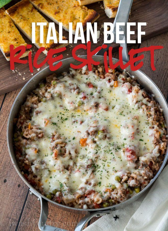 Italian Beef and Rice Skillet #beefandrice