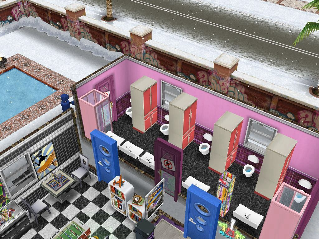 SimsFreeplay Bathroom with toilet dividers