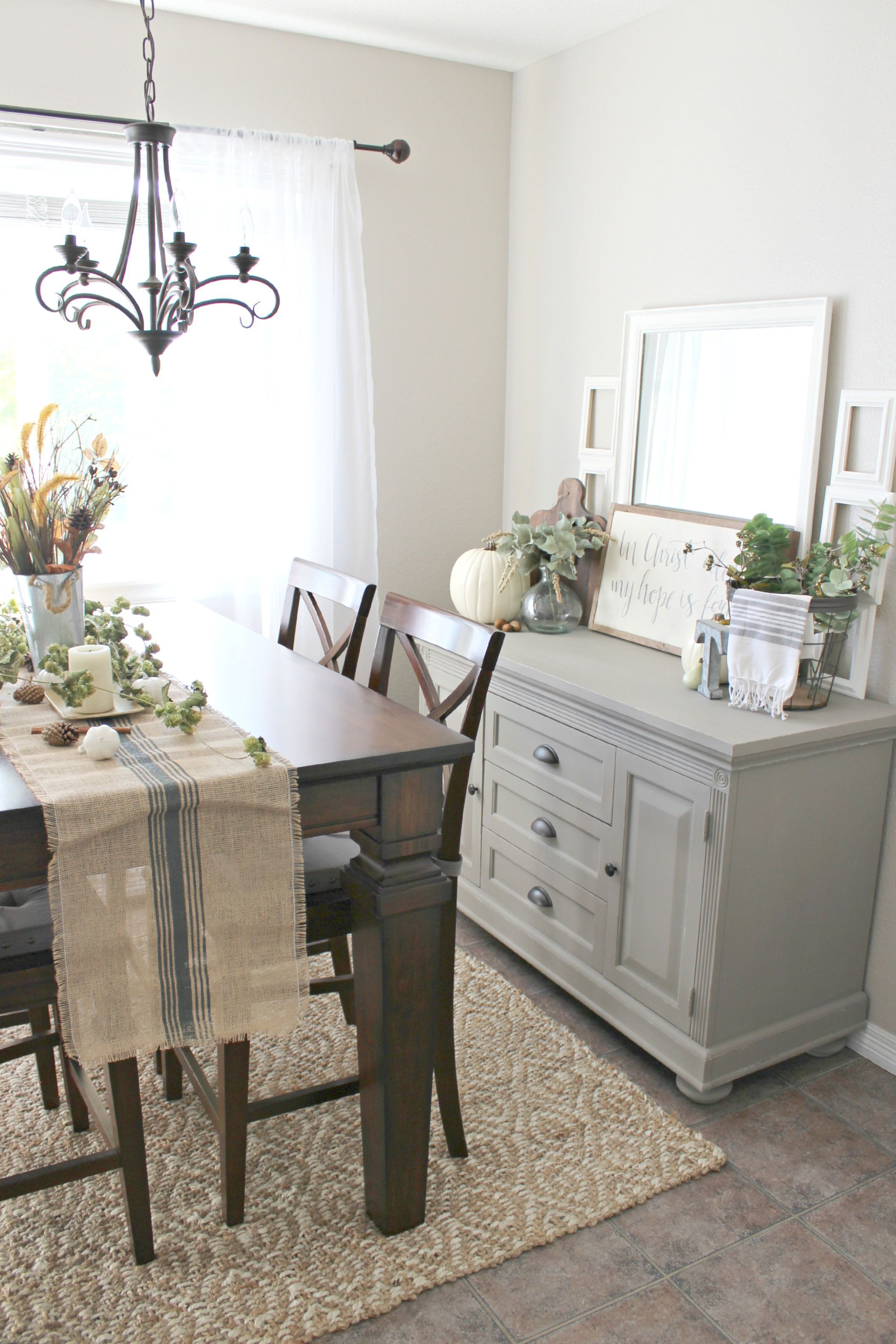 Fall Decor! Buffet table painted in Annie Sloan French Linen ...