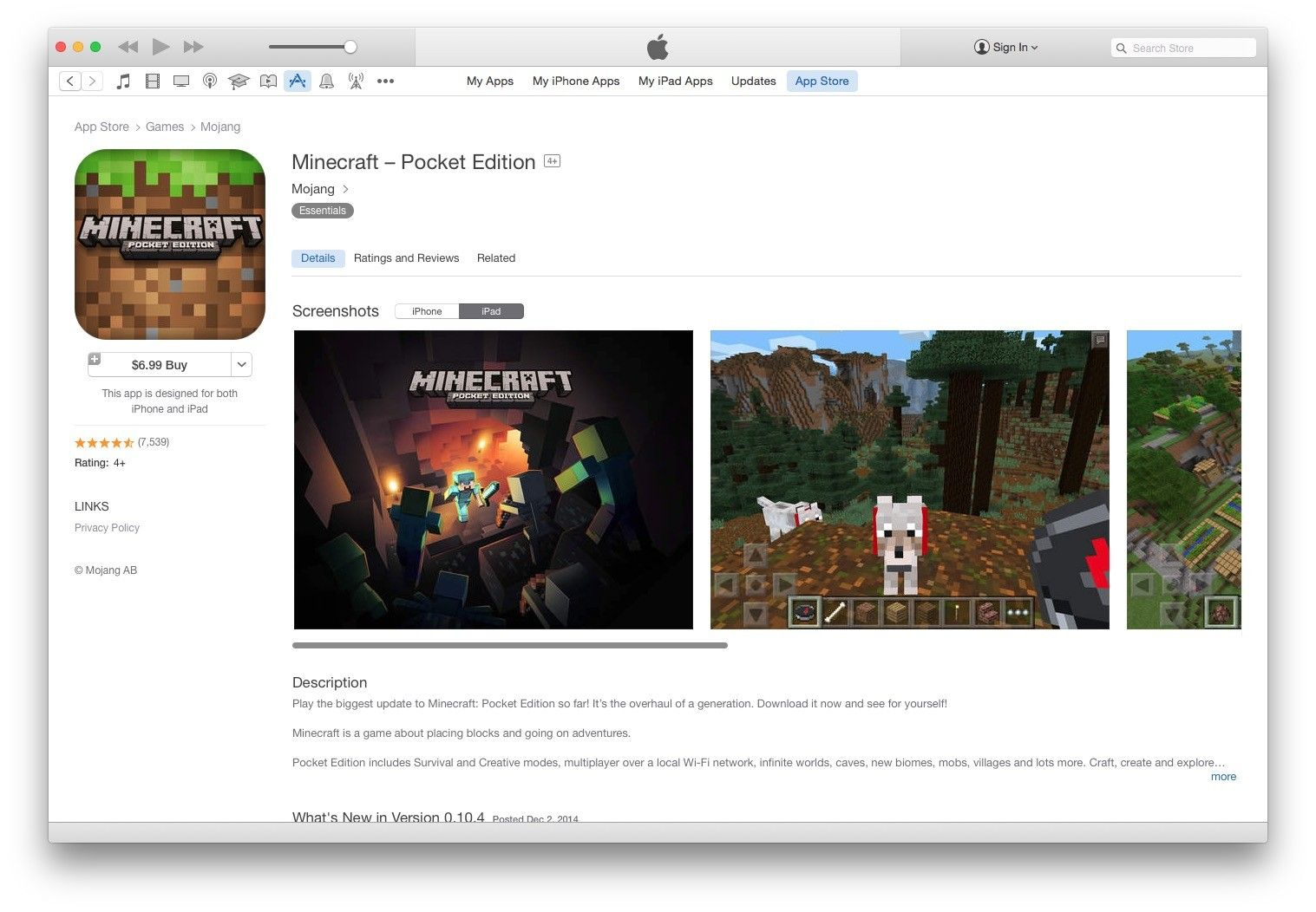 2014 Top Ranked Apps iOS and OS X App, Ios, Mojang