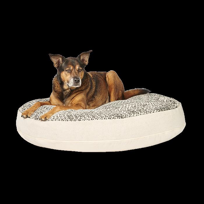 Harmony Mandala Print Round Dog Mattress Beige Black 100cm Petbarn Dog Mattresses Dog Bed Dogs