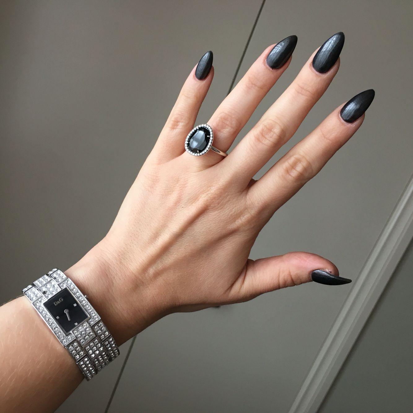 Charcoal Dark Black Grey Acrylic Gel Shellac Chic