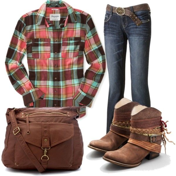 A cute plaid Aeropostale shirt with charming short cowgirl boots ...