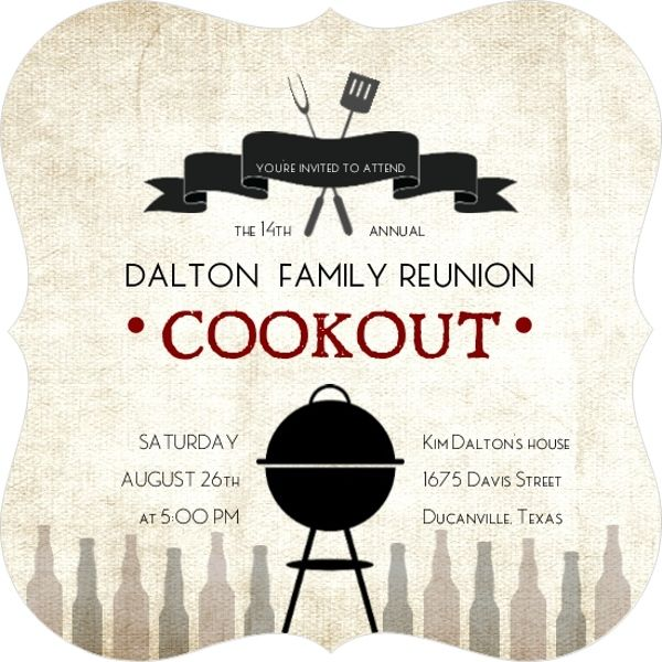 Rustic Linen Family Cookout Reunion Invitation  Family Reunion