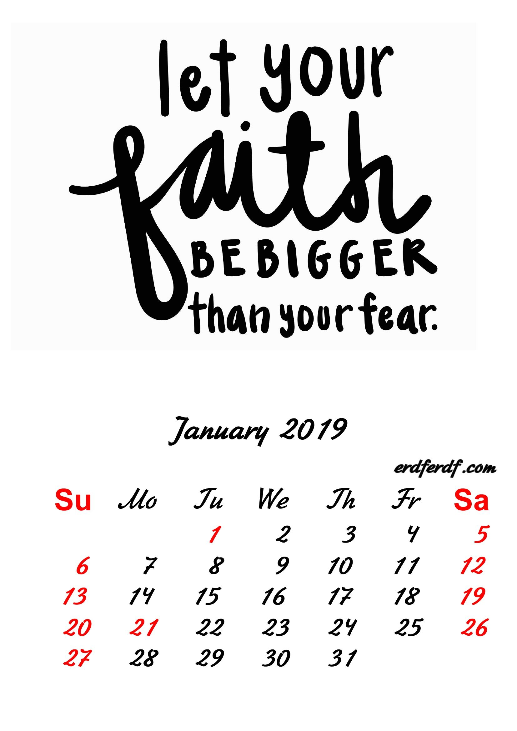Inspiring January 2019 Calendar 1 January 2019 Inspirational Quotes Pprintable Calendar | Monthly