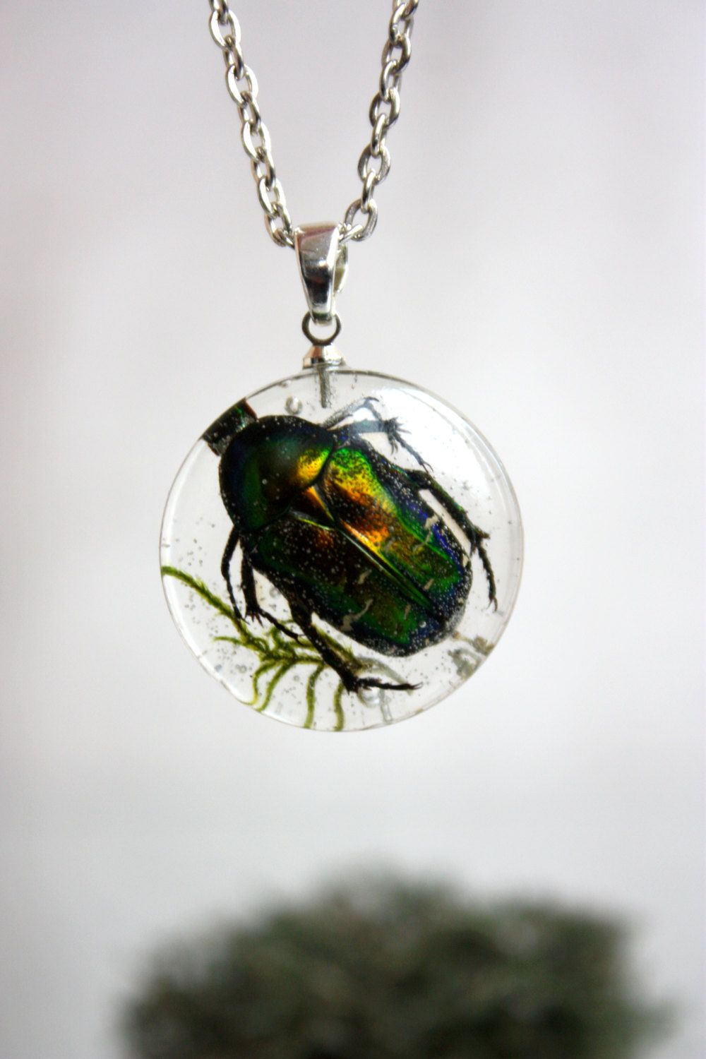 Cetonia Aurata Pendant Beetle Cetonia Aurata Moss Epoxy Resin  # Terrarium Dangle