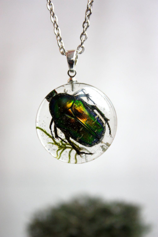 Cetonia Aurata Pendant Beetle Cetonia Aurata Moss Epoxy Resin  # Terrarium Dangle