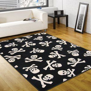 Retro Funky Black White Skull Cross Bones Pirate Small Rugs
