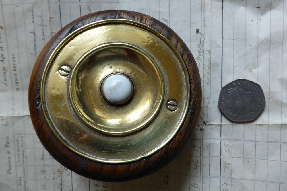Antique Brass & Ceramic Electric Door Bell Push + Wood Pattress (victorian) - Antique Brass & Ceramic Electric Door Bell Push + Wood Pattress
