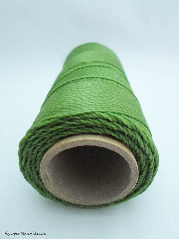 Material for macrame, 1 spool, green waxed polyester thread