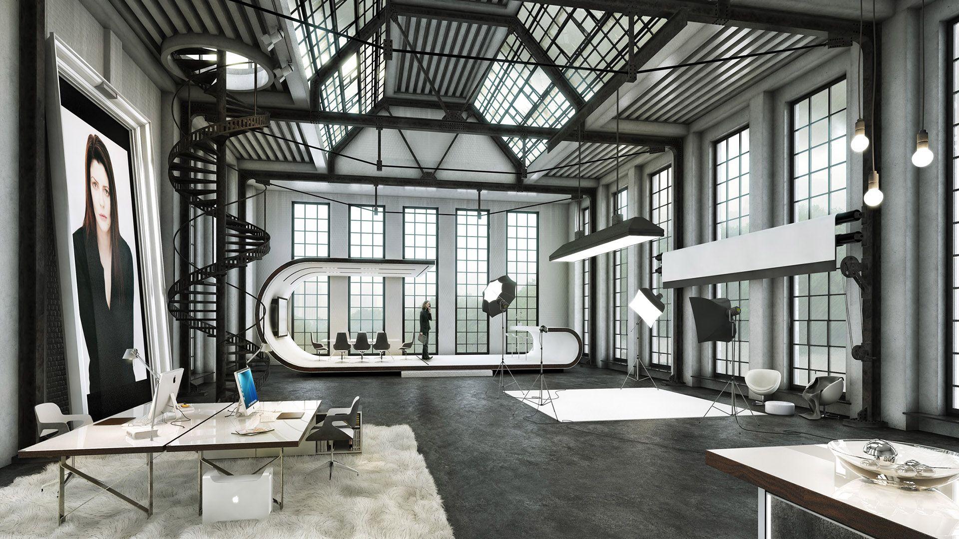 21d virtuelles Set eines New York Loft Spaces anhand eines ...