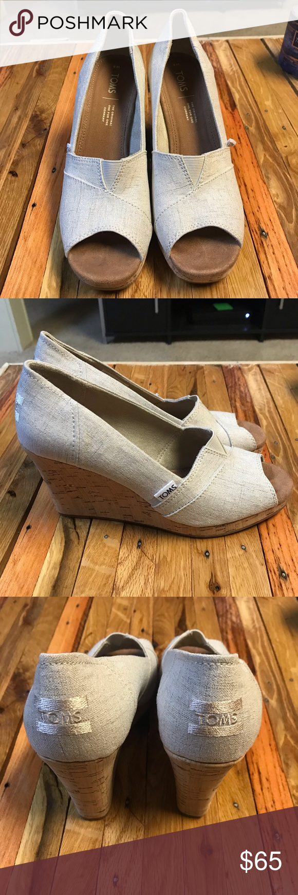Toms Wedge Heels New Toms Wedges In perfect condition, only worn once.  Beige/cream colored. Toms Shoes Wedges #tomwedges