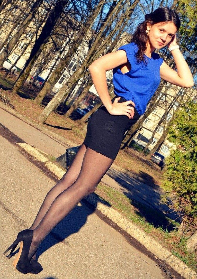 Teen With Breathtaking Legs In Miniskirt And Tights Pantyhose