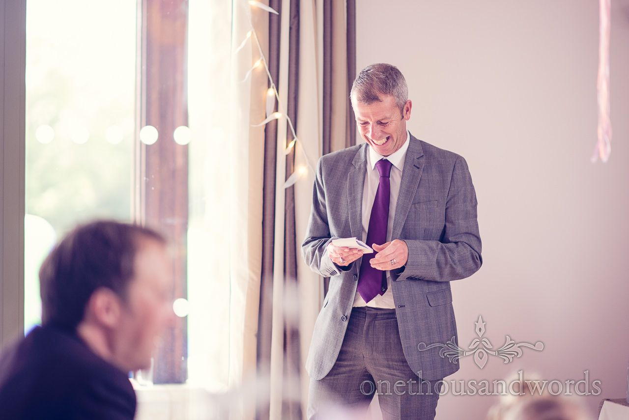 Brides Uncle Makes A Speech At Harmans Cross Village Hall Wedding Photography By One Thousand