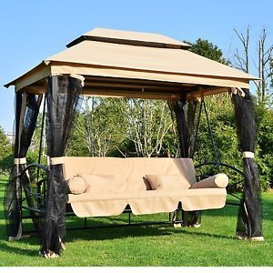Outdoor Patio 3 Person Gazebo Swing Daybed Bench Hammock Canopy With Mesh  Walls | EBay