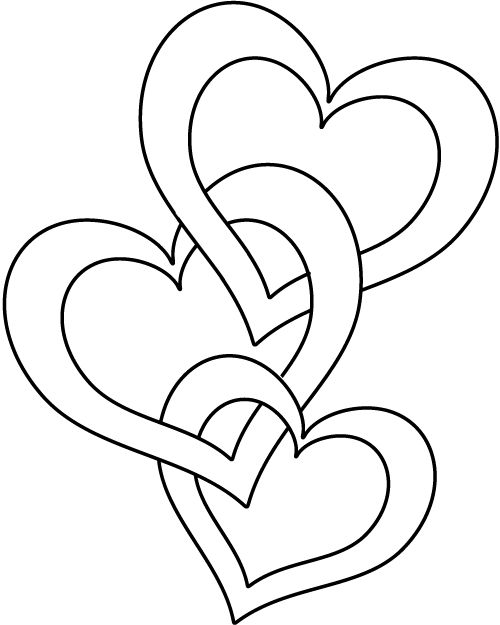 Three Hearts Three Hearts Coloring Page