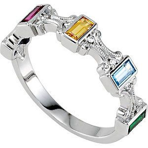 Silver Mother S Birthstone Ring 5 Baguette Stones Moms Family