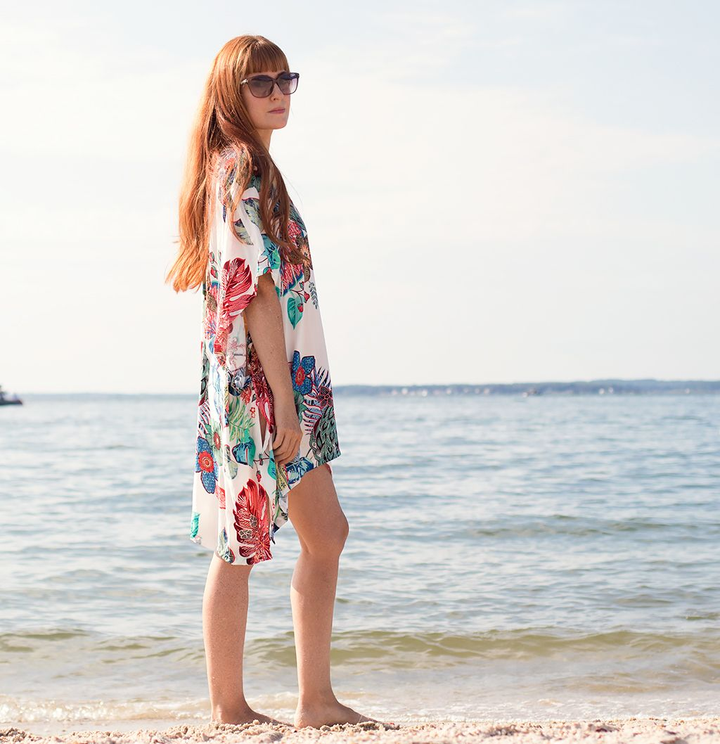 How to Sew an Easy Swimsuit Coverup- No Pattern Necessary! - Gina Michele