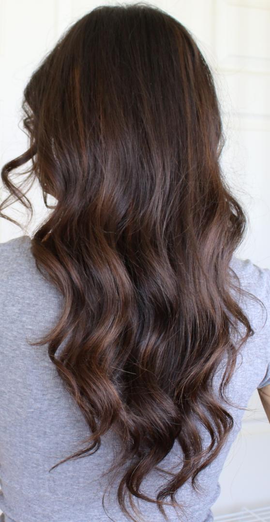 Auburn Balayage Highlights On Brunette Hair Balayage Highlights