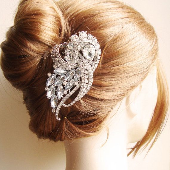 Vintage Bridal Hair Comb, Crystal Wedding Hair Piece, Art