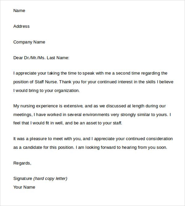 Sample Thank You Letter After Interview Free Documents Word Email