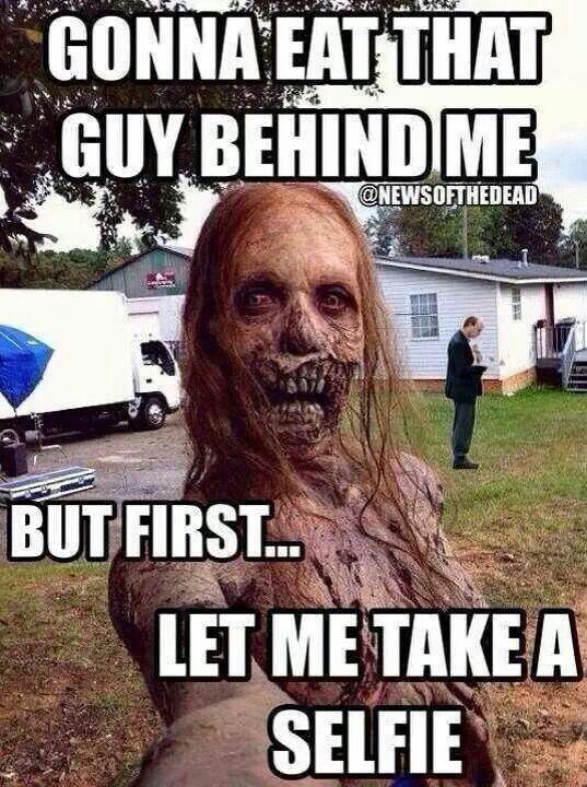 Zombie Selfie Walking Dead Funny Walking Dead Meme Lustig Selfie