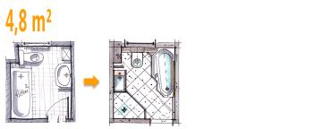 Badplanung Beispiel 4 8 Qm Wannenbad Bekommt Zusatzlich Eine Dusche Mit Bildern Bad Grundriss Kleines Bad Grundriss Badplanung