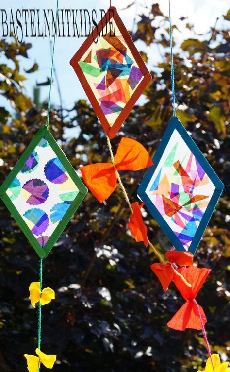 Drachen basteln mit Holzstäbchen - Basteln mit Kindern #herbstdekofensterkinder