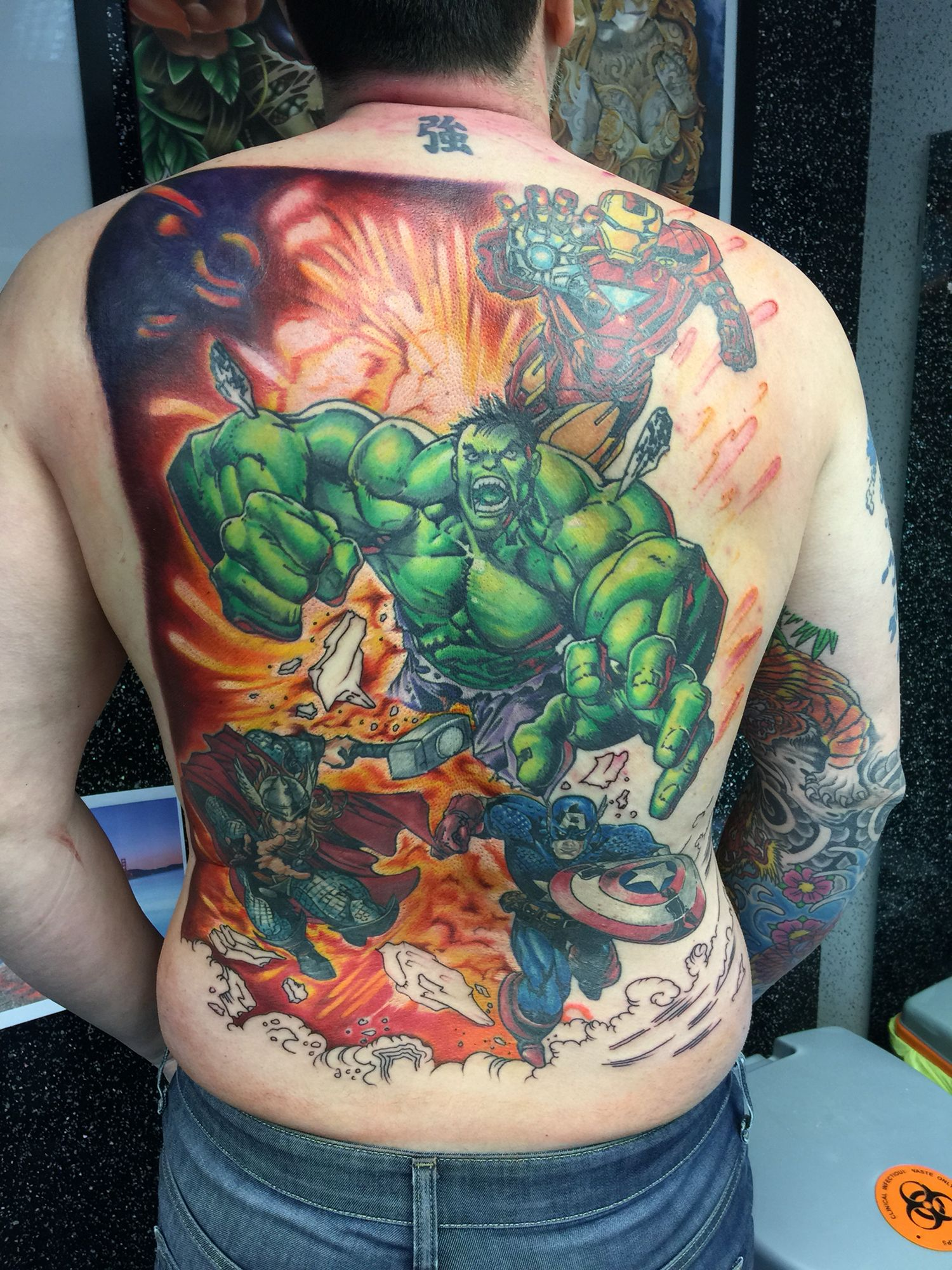 Avengers back piece. Sleeve tattoos, Body art, Tattoos