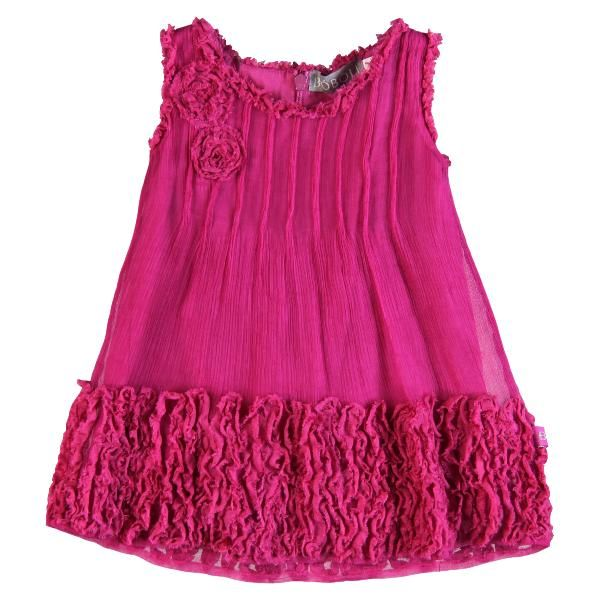 Here's a gorgeous girls occasion dress in a fabulous deep pink. The rose frills sets it off beautifully.