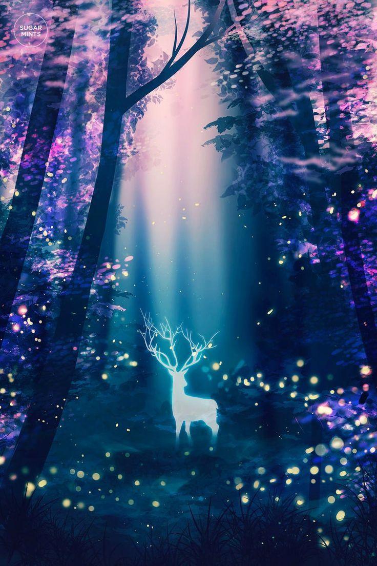 Deer Art Poster: Fireflies