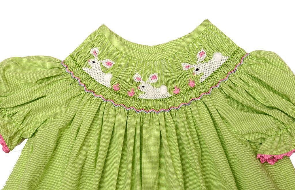 Delaney Bunny Smocked Lime Bishop - Toddler Girl