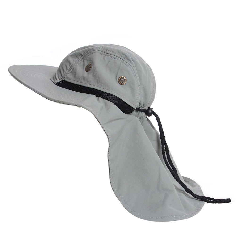 Wide Brim Bucket Sun Flap Hat with Neck Cover  51c15b3a9ec5