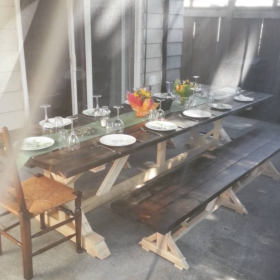 My New Huge 10ft Farmhouse Table Based On Plans By Ana White Used Tea Vinegar And Steel Wool For The Stain Farmhouse Table Rustic Dining Table Dining Table