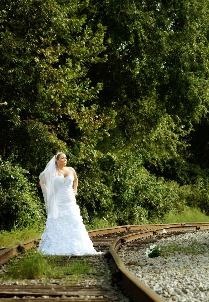 Bridal portrait on railroad tracks